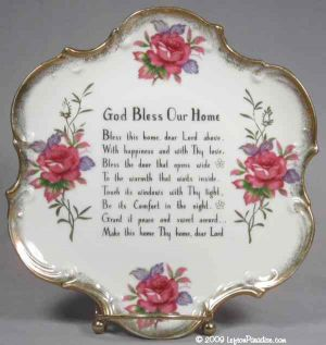 """God Bless Our Home"" Wall Plate with Roses - 1073N"