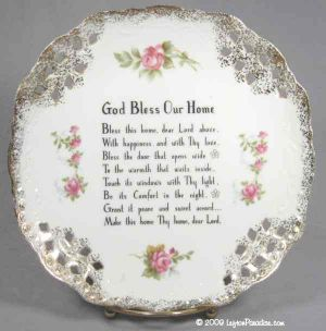 """God Bless Our Home"" Plate with Painted Roses - NE1073A"