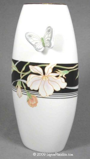 Graceful White Vase with Butterfly - 5706
