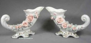 Pair of White Cornucopia Vases with Roses