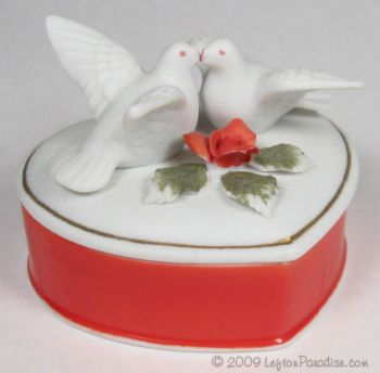 Bisque Heart-Shaped Trinket Box with Doves