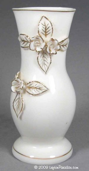 Glazed White Vase with Roses - 1628
