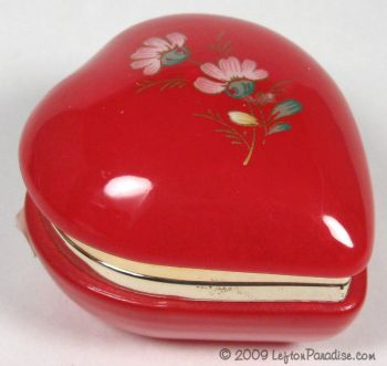 Red Alabaster Heart-Shaped Trinket Box