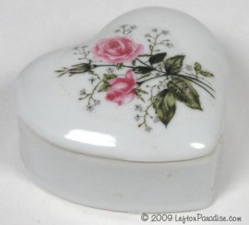 French Rose Heart-Shaped Trinket Box - 3395