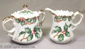 Creamer and Sugar set in Holly Garland pattern, Item NE1965 - Lefton