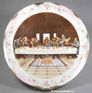 """The Last Supper"" Plate with Heirloom Rose Trim - 1831"