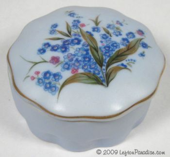 Blue Trinket Box with Forget-Me-Nots - 8227