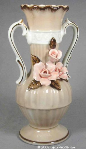 Mocha-Colored Urn Vase with Roses