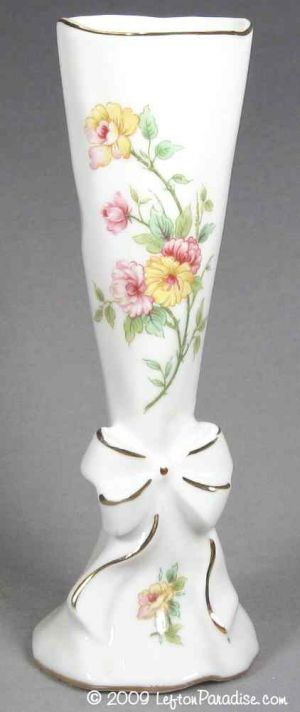 White Bud Vase with Painted Roses - 4383