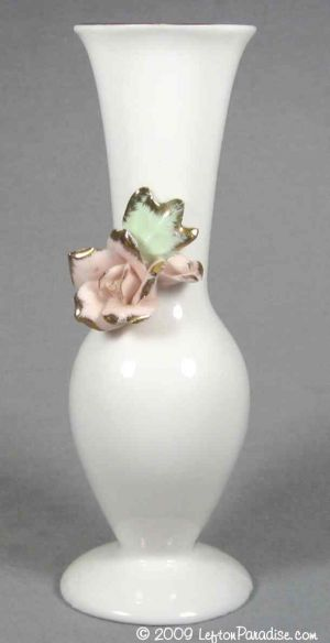 White Vase with Applied Rose - 1160