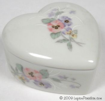 Heart-Shaped Trinket Box with Pansies - 4935